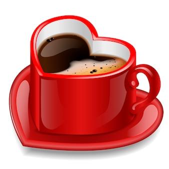 Coupe rouge en forme de coeur. isolé sur fond blanc.