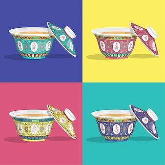 Coupe traditionnelle chinoise avec le vecteur de thé