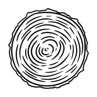 Coupe transversale d'une souche d'arbre. doodle de coupe en bois. image de style bande dessinée en bois de dessin animé. les médias mettent en évidence l'icône graphique