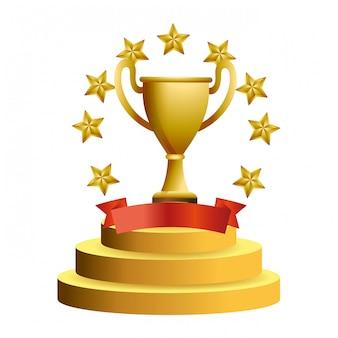 Coupe trophée avec étoiles