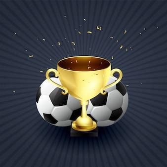 Coupe de trophée d'or fond de célébration de vainqueur de football