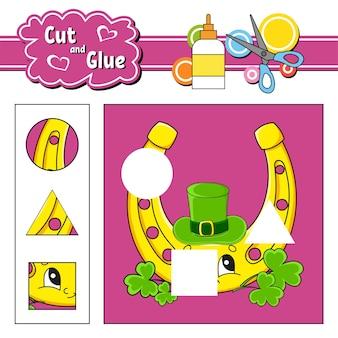 Couper et coller. jeu pour les enfants. le jour de la saint-patrick.