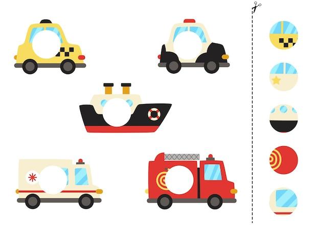 Couper et coller des pièces de moyens de transport. jeu de logique éducatif pour les enfants. jeu de correspondance.