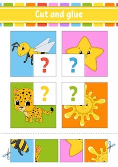 Couper et coller. puzzle de couleur.