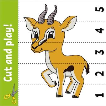 Couper et commander la feuille de travail dessin animé gazelle