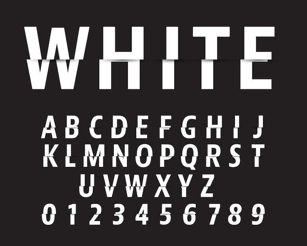 Couper le modèle de police alphabet. dessin de lettres et de chiffres.