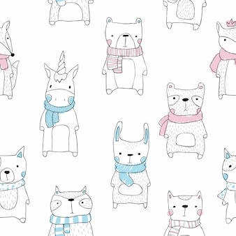Couper le modèle sans couture animal dans le style scandinave de bébé dessin animé. elle, coupe, licorne, renard, chien, ours, panda, raton laveur