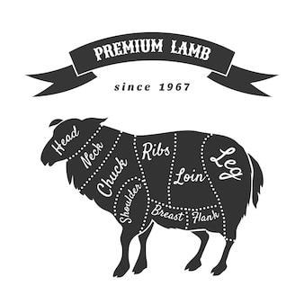 Coupes d'agneau pour l'affiche de la boucherie.