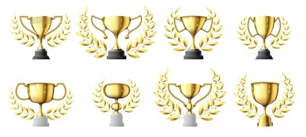 Coupes de trophée d'or. trophée des gagnants d'or avec couronne de laurier, jeu d'illustration réaliste de coupe de champion.