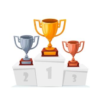 Coupes trophées or, argent et bronze