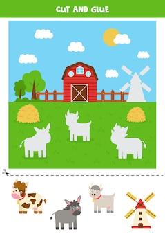 Coupez les animaux de la ferme et collez-les dans le champ. jeu pour les enfants.