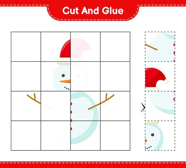 Coupez et collez, coupez des morceaux de bonhomme de neige et collez-les. jeu éducatif pour enfants, feuille de travail imprimable