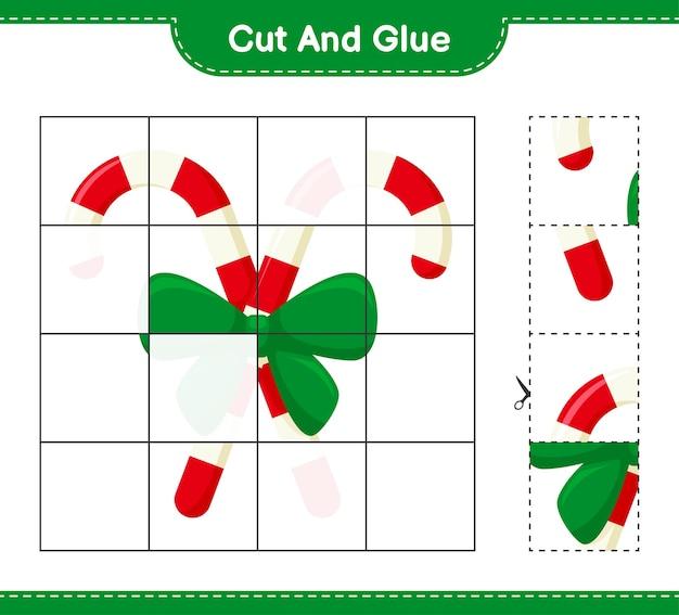 Coupez et collez, coupez des morceaux de cannes de bonbon avec du ruban et collez-les. jeu éducatif pour enfants, feuilles de travail imprimables