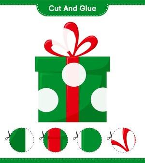 Coupez et collez, coupez des parties de boîtes-cadeaux et collez-les. jeu éducatif pour enfants, feuille de travail imprimable