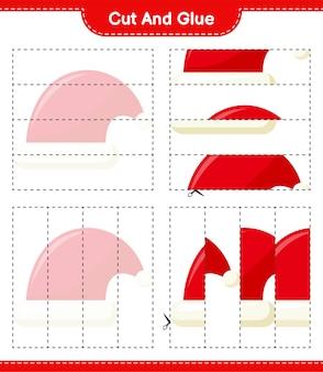 Coupez et collez, coupez des parties de bonnet de noel et collez-les. jeu éducatif pour enfants, feuille de travail imprimable