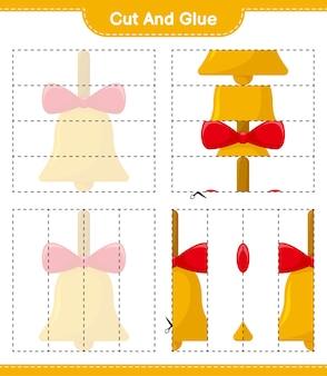 Coupez et collez, coupez des parties de cloches de noël dorées et collez-les. jeu éducatif pour enfants, feuille de travail imprimable