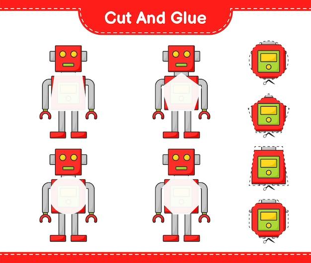 Coupez et collez les parties coupées du personnage du robot et collez-les jeu éducatif pour enfants