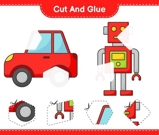 Coupez et collez les parties coupées du personnage du robot et de la voiture et collez-les jeu éducatif pour enfants