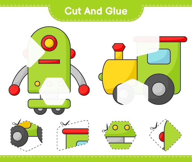 Coupez et collez des parties coupées du personnage de train et de robot et collez-les jeu éducatif pour enfants