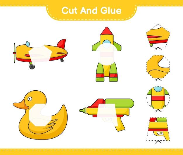 Coupez et collez les parties coupées du pistolet à eau plane rocket rubber duck et collez-les