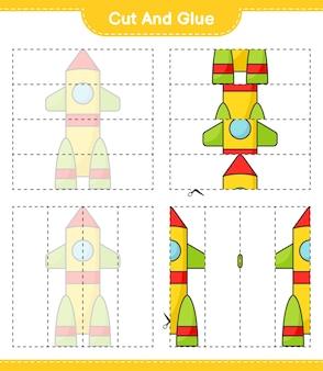 Coupez et collez les parties coupées de rocket et collez-les feuille de travail imprimable du jeu éducatif pour enfants