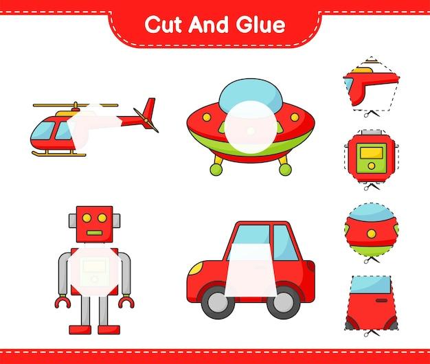 Coupez et collez les parties coupées de la voiture de personnage du robot hélicoptère ufo et collez-les