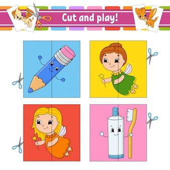Coupez et jouez. cartes flash. puzzle de couleur. dentifrice, fée, crayon.