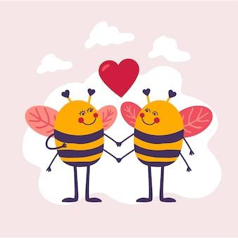 Couple d'abeilles dessinés à la main pour la saint-valentin