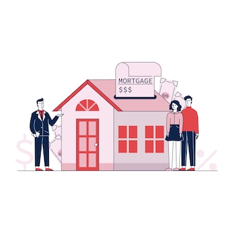Couple, achat, maison, propriété, à, crédit bancaire, vecteur, illustration
