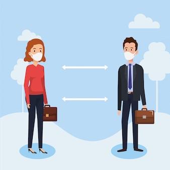 Couple d'affaires à l'aide d'un masque facial et de la distance sociale pour covid19