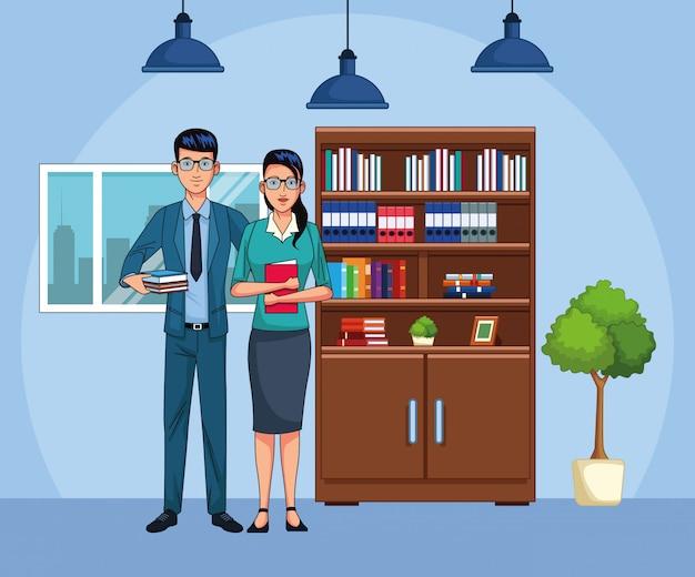 Couple d'affaires de dessin animé au paysage de bureau, design coloré