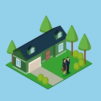 Couple d'affaires immobilier 3d