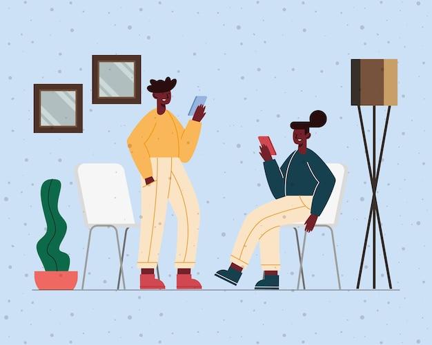 Couple afro utilisant des appareils mobiles