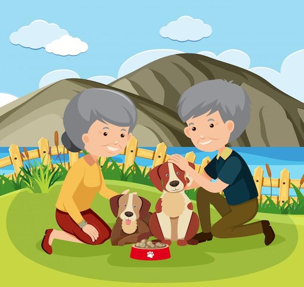 Couple âgé et animaux domestiques