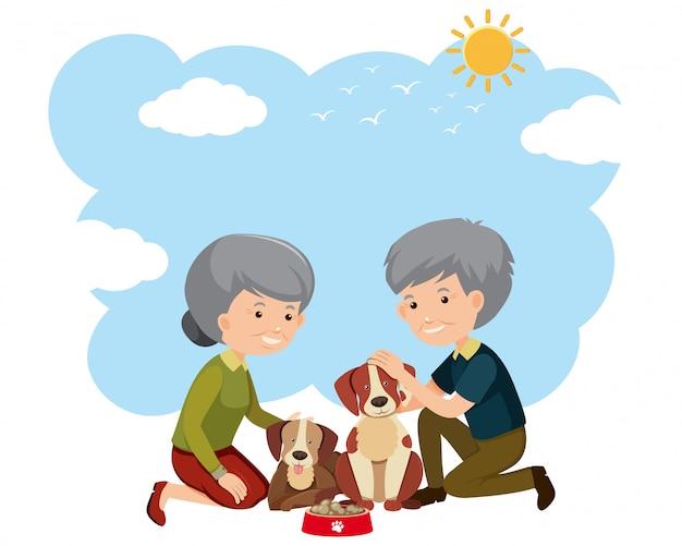 Un couple âgé et des chiens