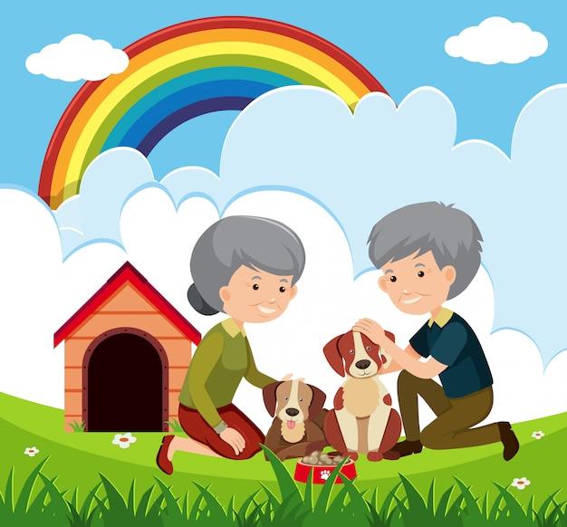 Couple âgé et chiens
