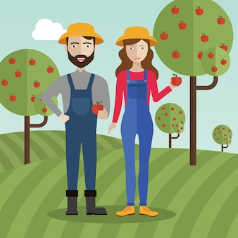 Couple d'agriculteurs au champ ramassant des pommes