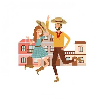 Couple d'agriculteurs dansant