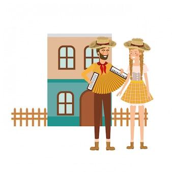 Couple d'agriculteurs avec instrument de musique
