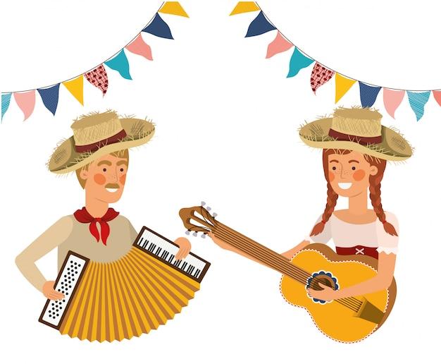 Couple d'agriculteurs avec instruments de musique