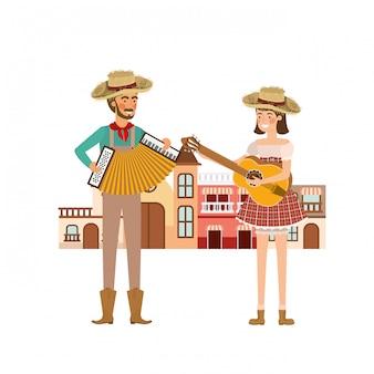 Couple d'agriculteurs avec des maisons