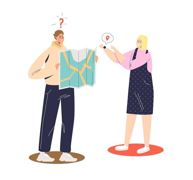 Couple à l'aide de l'application de navigation cartographique dans la montre intelligente. technologie d'application gps pour bracelet de montre numérique. homme et femme utilisent le navigateur smartwatch