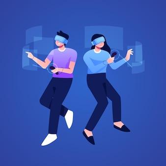 Couple à l'aide de lunettes de réalité virtuelle
