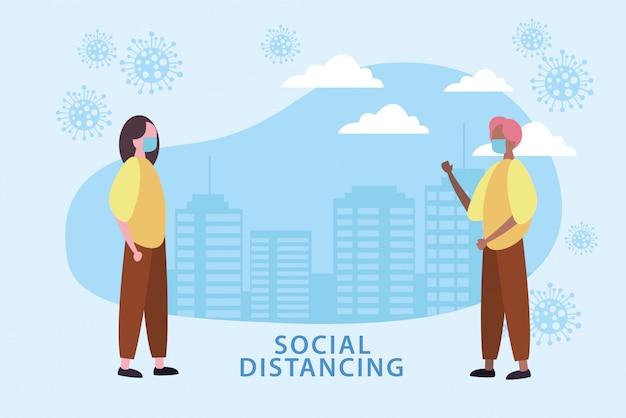 Couple à l'aide de masques avec distanciation sociale pour covid19