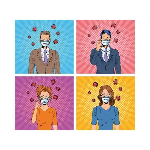 Couple à l'aide de masques faciaux et de particules popid19 style pop art