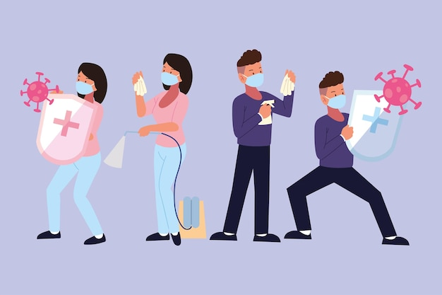 Couple à l'aide de masques spray d'alcool
