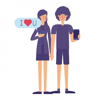 Couple à l'aide de smartphone avec bulle de dialogue