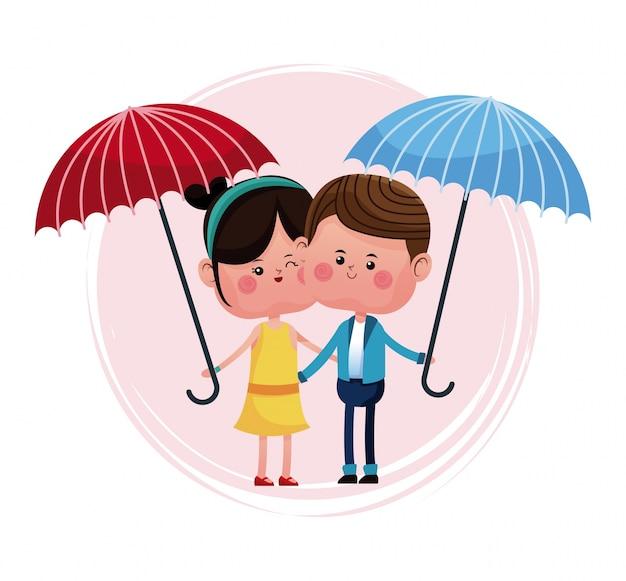 Couple aimant avec un parapluie bleu et rouge