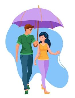 Un couple aimant en promenade avec un parapluie. un rendez-vous romantique. style de bande dessinée.