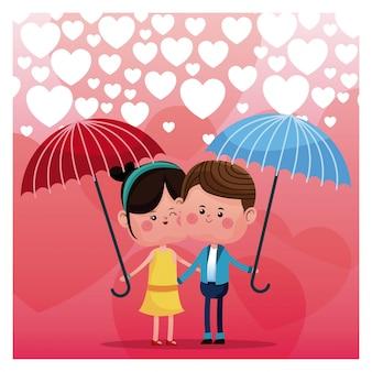Couple, aimer, parapluie, pluie, coeur, fond
